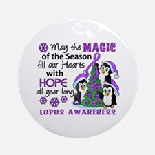 Holiday Penguins Lupus Ornament (Round)
