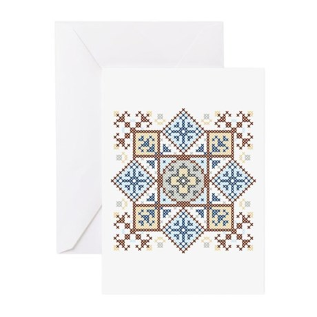 Cross Stitch Medallion 2 Greeting Cards (Pk of 10)