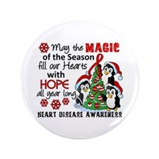 "Holiday Penguins Heart Disease 3.5"" Button"