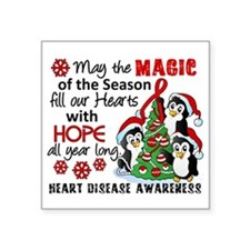 """Holiday Penguins Heart Disease Square Sticker 3"""" x"""