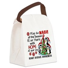 Holiday Penguins Heart Disease Canvas Lunch Bag