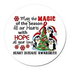 Holiday Penguins Heart Disease Round Car Magnet