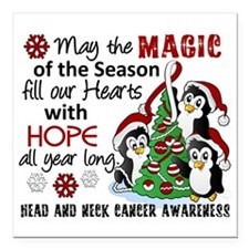 Holiday Penguins Head and Neck Cancer Square Car M