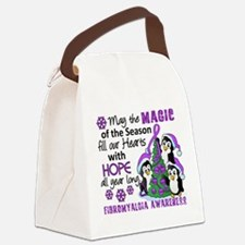 Holiday Penguins Fibromyalgia Canvas Lunch Bag
