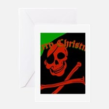 pirate christmas flag Greeting Cards