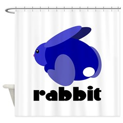Blue Rabbit Shower Curtain