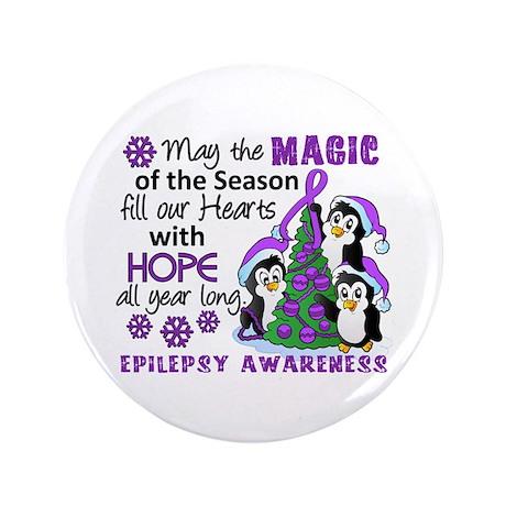 "Holiday Penguins Epilepsy 3.5"" Button"