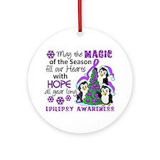 Holiday Penguins Epilepsy Ornament (Round)
