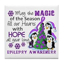Holiday Penguins Epilepsy Tile Coaster