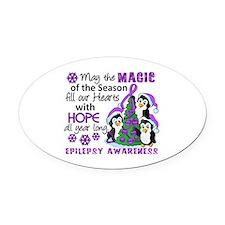 Holiday Penguins Epilepsy Oval Car Magnet