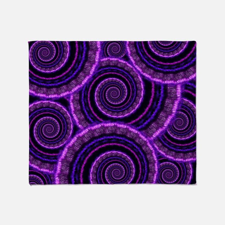 Purple Spiral Fractal Art Pattern Throw Blanket