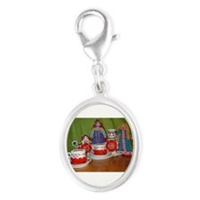 Russian Doll Tea Time Silver Oval Charm