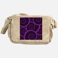 Purple Spiral Fractal Art Pattern Messenger Bag