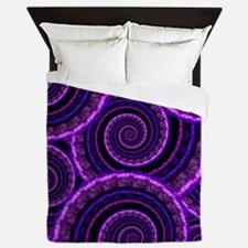 Purple Spiral Fractal Art Pattern Queen Duvet