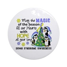 Holiday Penguins Down Syndrome Ornament (Round)