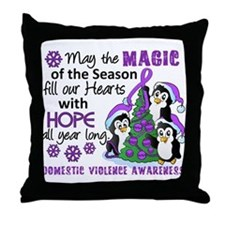 Holiday Penguins Domestic Violence Throw Pillow