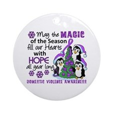 Holiday Penguins Domestic Violence Ornament (Round