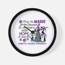 Holiday Penguins Domestic Violence Wall Clock