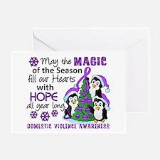 Holiday Penguins Domestic Violence Greeting Card