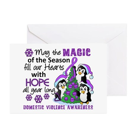 Holiday Penguins Domestic Violence Greeting Cards