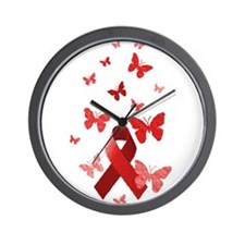 Red Awareness Ribbon Wall Clock