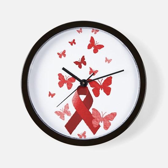 Red Awareness Ribbon Wall Clock