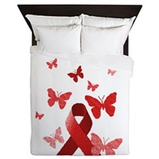 Red Awareness Ribbon Queen Duvet