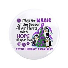 """Holiday Penguins Cystic Fibrosis 3.5"""" Button"""