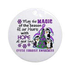 Holiday Penguins Cystic Fibrosis Ornament (Round)