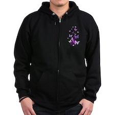 Purple Awareness Ribbon Zip Hoodie