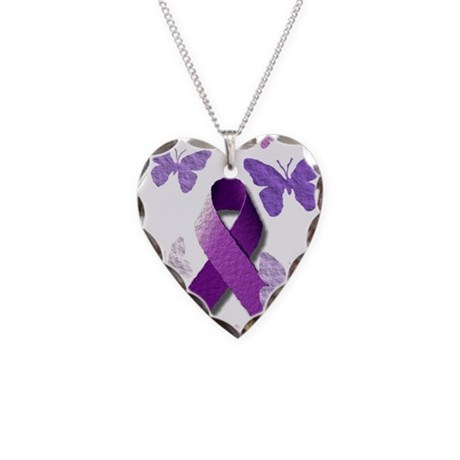Purple Awareness Ribbon Necklace Heart Charm
