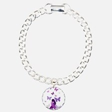 Purple Awareness Ribbon Bracelet