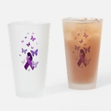 Purple Awareness Ribbon Drinking Glass