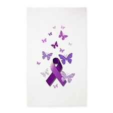 Purple Awareness Ribbon 3'x5' Area Rug