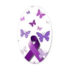 Purple Awareness Ribbon Oval Car Magnet