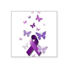"Purple Awareness Ribbon Square Sticker 3"" x 3"""