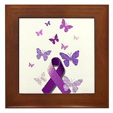 Purple Awareness Ribbon Framed Tile