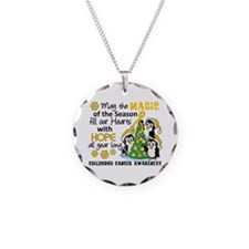 Holiday Penguins Childhood Cancer Necklace