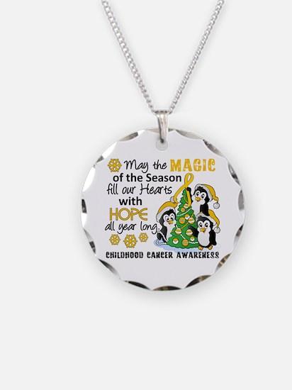 Holiday Penguins Childhood Cancer Necklace
