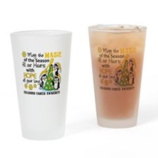 Holiday Penguins Childhood Cancer Drinking Glass