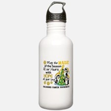 Holiday Penguins Childhood Cancer Water Bottle