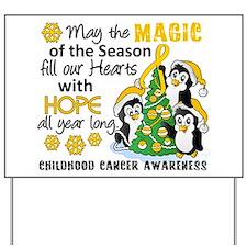 Holiday Penguins Childhood Cancer Yard Sign