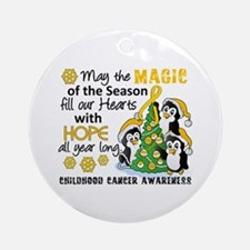 Holiday Penguins Childhood Cancer Ornament (Round)