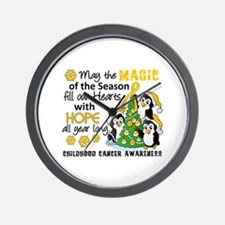 Holiday Penguins Childhood Cancer Wall Clock
