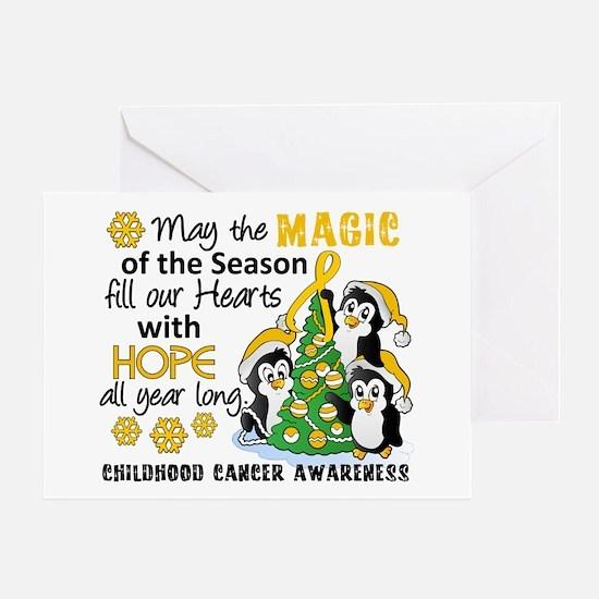 Holiday Penguins Childhood Cancer Greeting Card