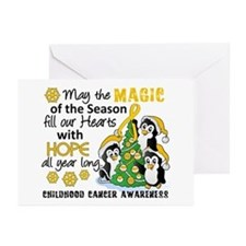 Holiday Penguins Childhood Cancer Greeting Cards (