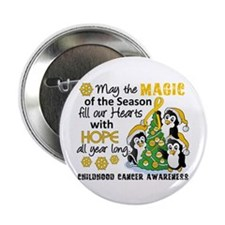 "Holiday Penguins Childhood Cancer 2.25"" Button (10"