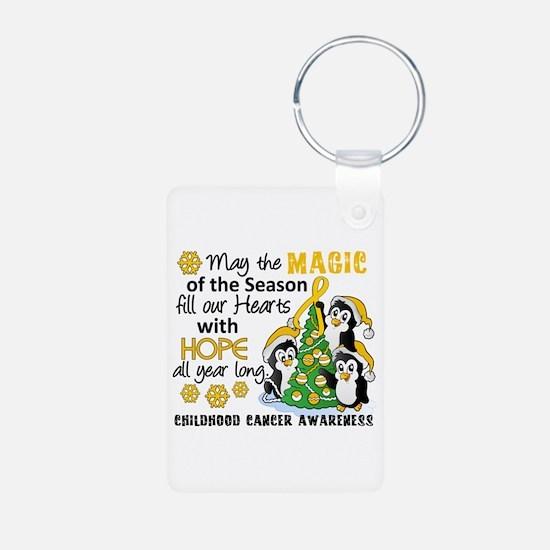 Holiday Penguins Childhood Cancer Keychains