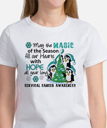 Holiday Penguins Cervical Cancer Women's T-Shirt