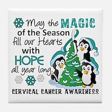 Holiday Penguins Cervical Cancer Tile Coaster